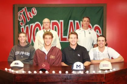 From left to right: Michael McKinstrey, Luke Sherley, Griffin Jones, Scott Stephens. Top row: Principal Gregg Colschen and coach Ron Eastman.