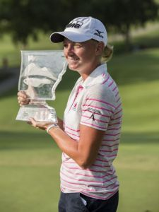 Stacy Lewis, who won the NW Arkansas Championship on June 29, was one of only nine players to break par Thursday in the first round of the Women's British Open at Royal Birkdale Golf Club in Southport, England.
