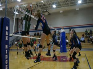 Clark with one of her 28 kills on the night, leading to a monstrous victory over The Woodlands.