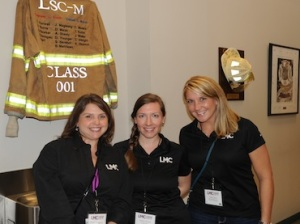 The Leadership Montgomery County (LMC) Class of 2015 recently took a tour of The Woodlands Emergency Training Center at their Education Session on November 6. Pictured (L to R): LMC Class of 2015 class members Jennifer Matthews, Greater Conroe Economic Development Council; Melissa Bochat, Entergy Texas; and Ashley Byers, The Woodlands Area Chamber of Commerce. For more information about LMC, please visit LMCTX.org.