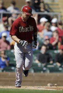 Arizona Diamondbacks' Paul Goldschmidt, a graduate of The Woodlands, heads to first after walking against the Colorado Rockies Wednesday in Scottsdale, Ariz.