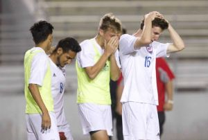 Oak Ridge players react after losing to Westfield 1-0 in extra time during a Region II-6A bi-district playoff game Thursday