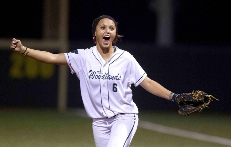 The Woodlands first baseman Shelby Dublin celebrates after the final strikeout of the game pitcher Emily Langkamp in the seventh inning of a Region II-6A regional semifinal series in Mumford Friday. The Woodlands defeated Belton 3-2 in Game 1.