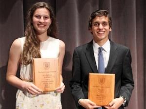 The John Cooper School's Female Athlete of the Year Julianne Malek and Male Athlete of the Year Pedro Nasta