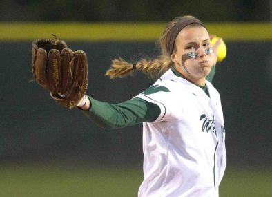 The Woodlands pitcher Abby Langkamp throws during a game this year. She earned Texas Girls Coaches Association all-state honors.