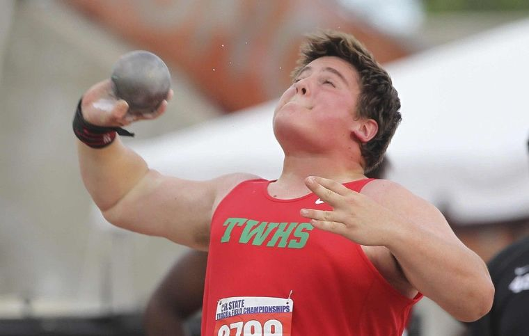 The Woodlands' Adrian Piperi competes in the Class 6A shot put at the UIL State Track & Field Championships in Austin Friday.