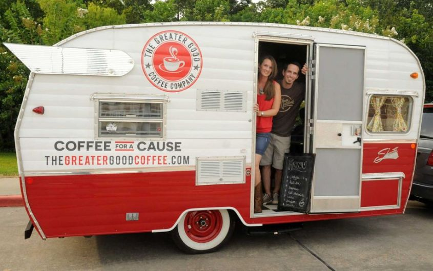 Dea and Ben Scogin, of Spring, with their Coffee for a Cause mobile coffee bar trailer.
