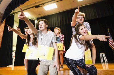 "The Woodlands High School students sing ""25th Annual Putnam County Spelling Bee"" from its namesake musical at rehearsal on Friday at The Woodlands High School Ninth Grade Campus."
