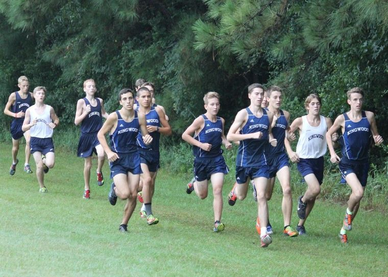 Junior Jeremy Rich and senior Harry Bellow lead the pack early at the Watermelon Run, the Kingwood boys annual intrasquad season opener.