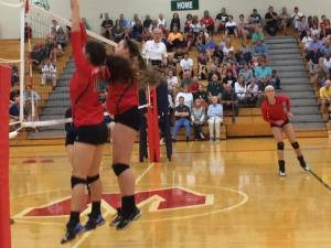 Tandem blocking by TWHS Anabella Pinton and AJ Koele denied numerous scoring attempts.