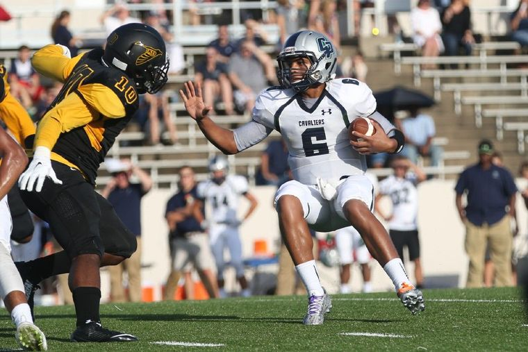 College Park's Jordan Turnquest (6) back in September against Aldine Eisenhower. After a three touchdown performance against Oak Ridge this Friday night, including the game-winner, Turnquest is The Courier's Montgomery County Player of the Week.