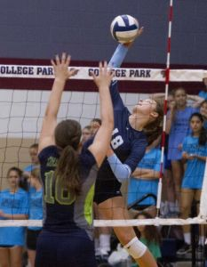 Kingwood's Effie Zielinski goes up for a shot against College Park's Hannah Erwin during a volleyball game Tuesday. College Park defeated Kingwood in straight sets.