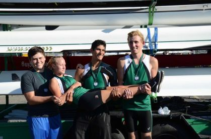 Trent Celestino, Zachary Jaramillo, Trayce Agnew, Toby Lucero (not pictured) and coxswain Ally O'Keefe won third place in the Men's Jr. Novice 4+ event at Baylor's Head of the Brazos.