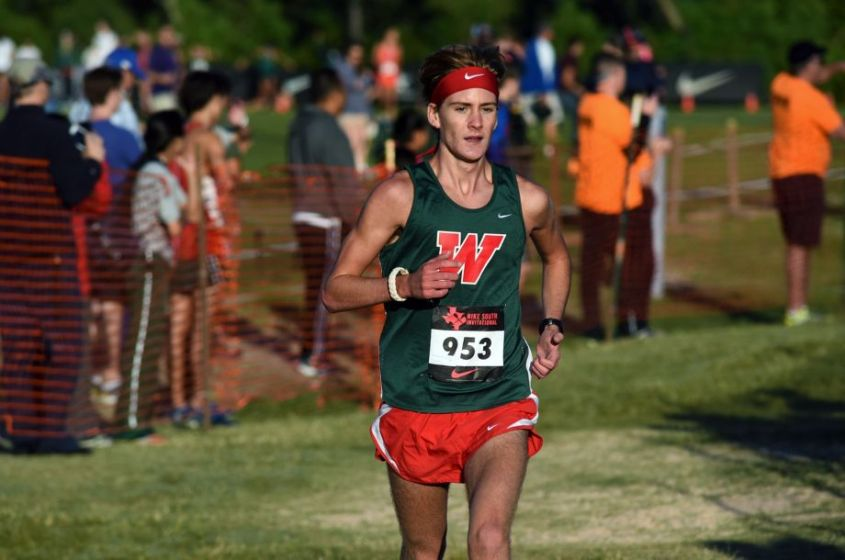 The Woodlands senior Daniel Golden competes in the Varsity Elite Boys race during the Nike South XC Invitational at Bear Branch Park in The Woodlands on Oct. 3, 2015.