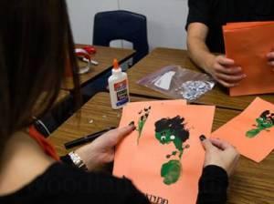 The Oak Ridge High School Student Council worked with the 'little War Eagles,' children of ORHS teachers, to make an adorable Franken-feet craft in spirit of Halloween