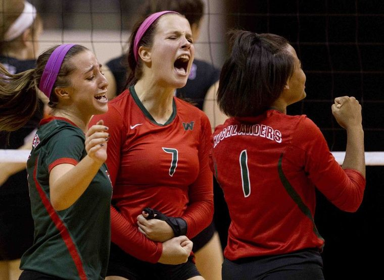 he Woodlands' Hannah Hickman, center, Mia Primavera, left, and Skylar Scott celebrate after defeating JJ Pearce, 3-1 during a Region II-6A regional semifinal match Friday, Nov. 13, 2015, in Huntsville.