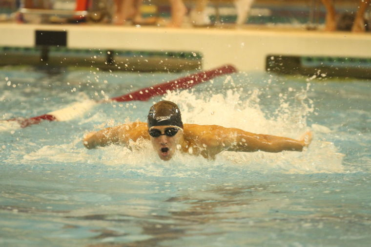 A member of the Kingwood boys swimming team competes during a recent meet.