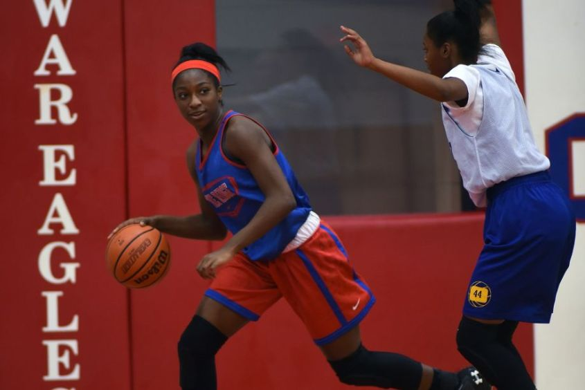 Oak Ridge freshman guard/forward Alecia Whyte, left, works the ball against a Klein defender during their scrimmage last week.