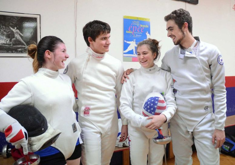 Jessica Thow, Oak Ridge High School sophomore, William Smith, A The Woodlands High School freshman, Barbara VanBenthuysen, a The Woodlands High School senior, and Wolfe Crouse, A Willis High School sophomore, before a practice session at Alliance Fencing Academy, 27326 Robinson Road in Oak Ridge North.