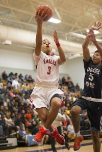 Atascocita's Carsen Edwards (3) leaps for a layup during Atascocita's 82-56 victory over College Park on Jan. 2, 2014, at Atascocita High School.