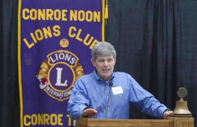 College Park head coach Clifton McNeely speaks about the upcoming basketball season at the Conroe Noon Lions Club meeting Wednesday, Dec. 2, 2015.