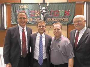 (From Left to Right) Dr. Don Stockton-Superintendent Conroe ISD, Connor Kidd, Richard Carson-AD & Head FB Coach, TWCP; Danny Long-AD, Conroe ISD.