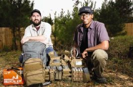 eff Conlon and Jazz Howard, owners of Modern Skirmisher, display some of their featured survival and outdoors gear.