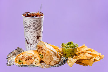 CHIPOTLE Carnitas burrito (945), chips and guacamole (770), Coke (276).