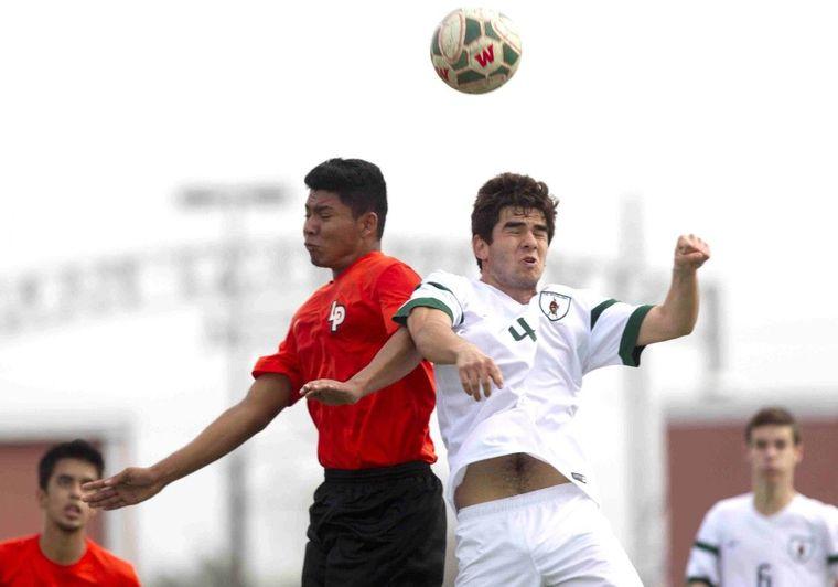 The Woodlands' Rodrigo Burgete goes up for a header during the Kilt Cup soccer tournament Thursday.