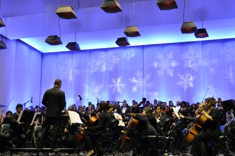 fb7a23bab23 ... Pavilion stage features performances of familiar holiday medleys by the  student musicians of Conroe High School